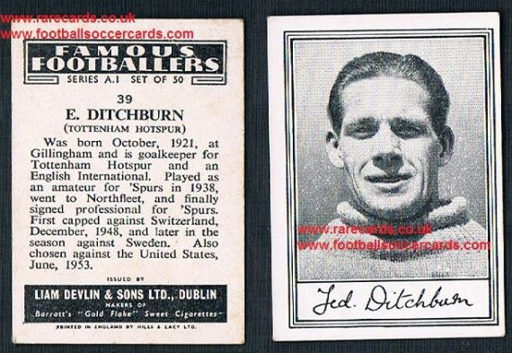 1952 Liam Devlin Ireland Series A1 #39 Ted Dithcburn Spurs